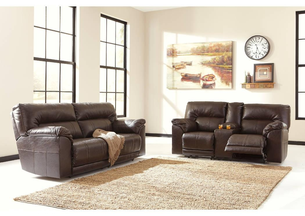 Medlin Furniture Barrettsville Durablend® Chocolate 2 Seat Throughout Benchcraft Leather Sofas (Image 8 of 20)