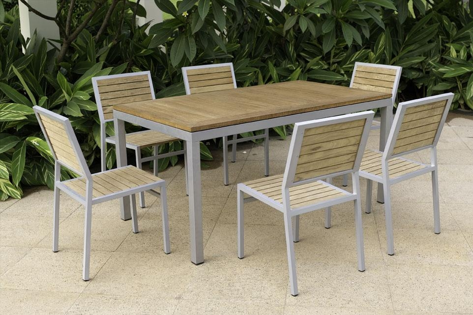 Metal And Wood Outdoor Furniture Intended For Garden Dining Tables And Chairs (Image 15 of 20)