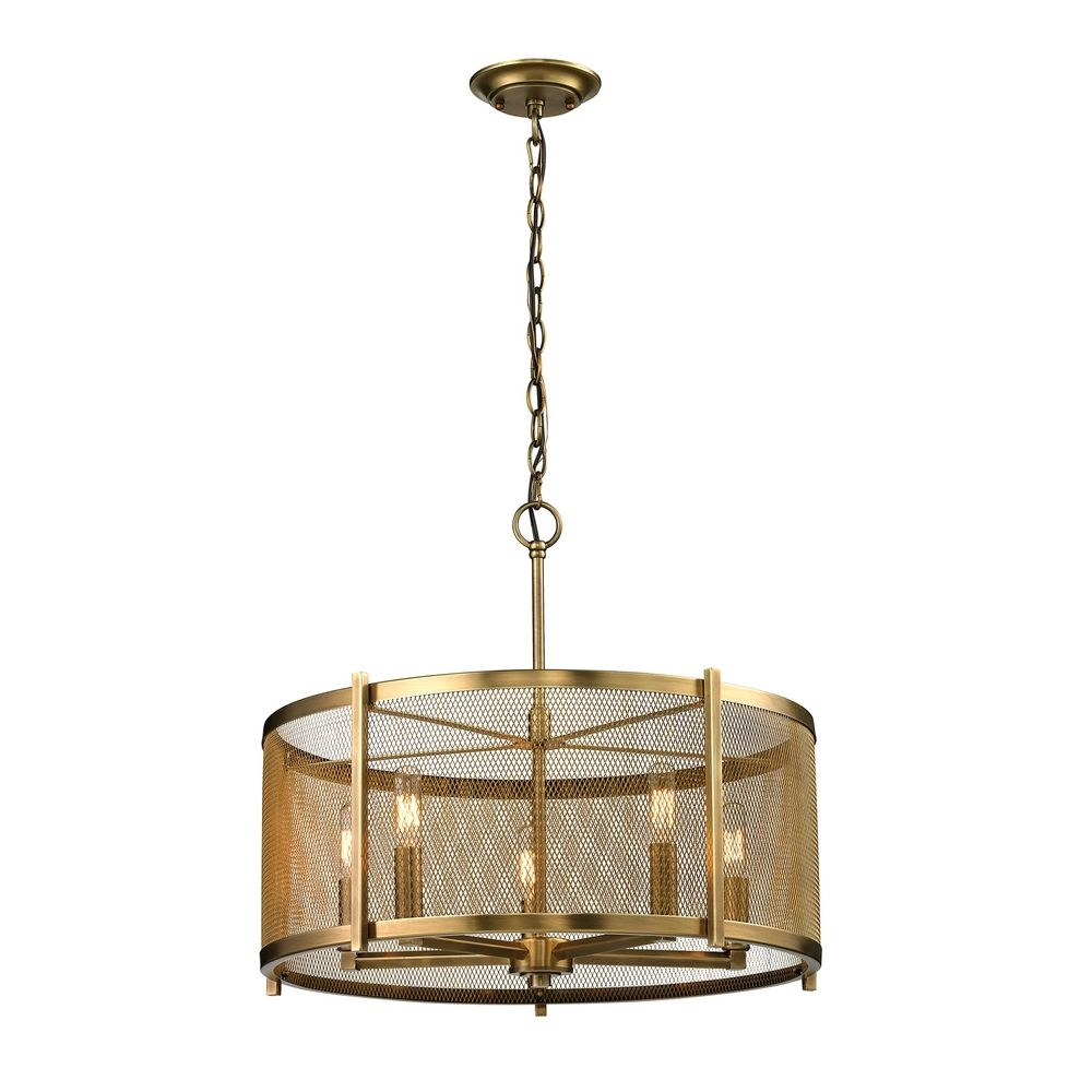 Metal Drum Pendant Light In Aged Brass Finish 314835 Regarding Metal Drum Chandeliers (Image 18 of 25)