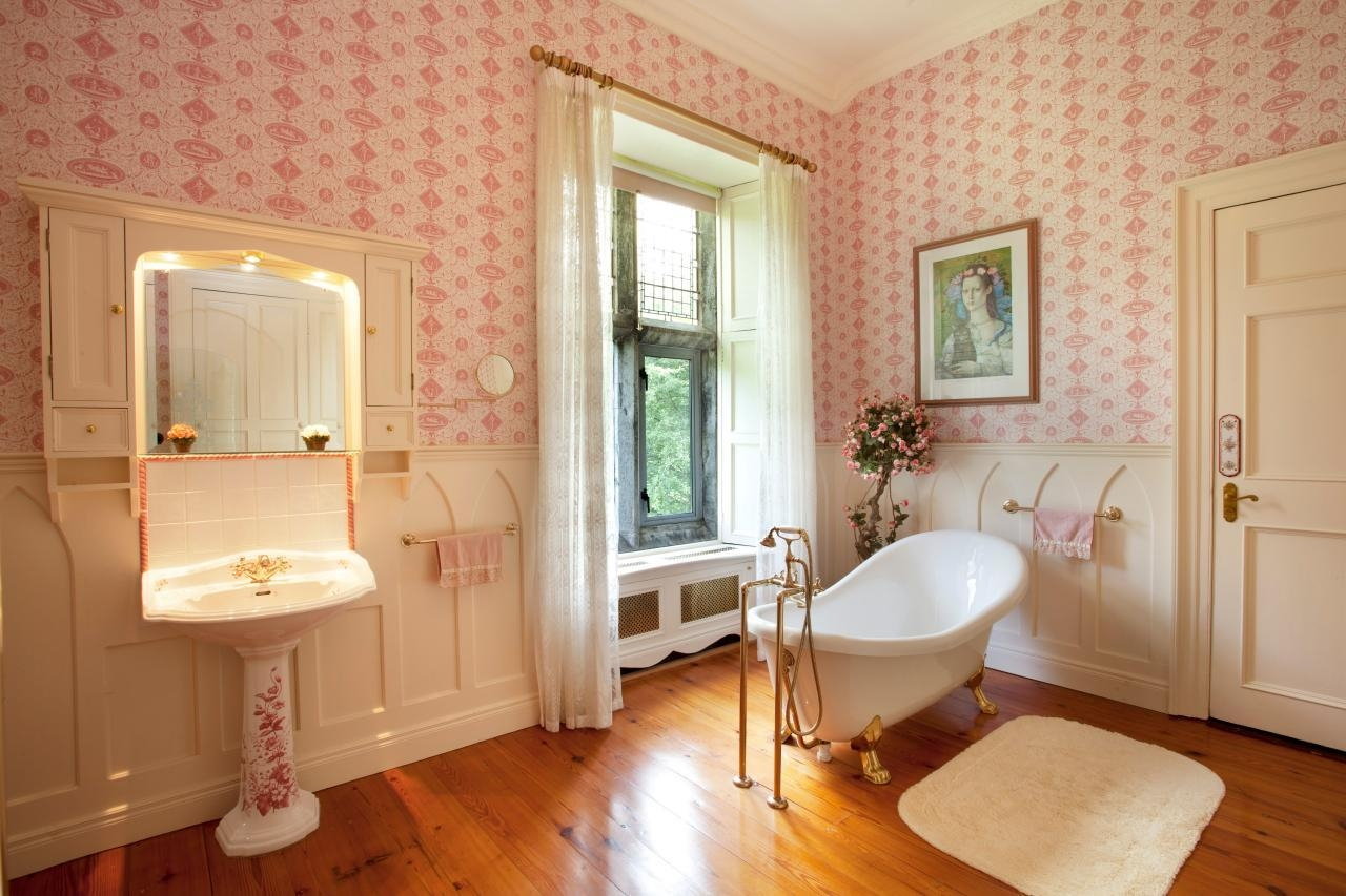 Meticulous French Country Bathroom With Wallpaper Decor And Inside Illuminated Dressing Table Mirror (View 8 of 20)