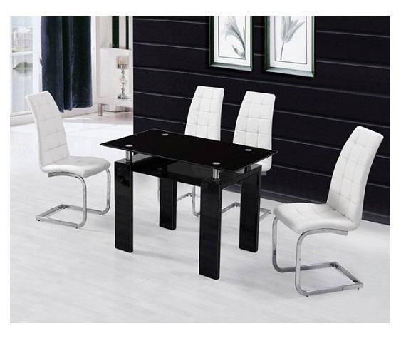Metro Dining Table Black + 4 White New York Chairs | Paradise With Regard To Metro Dining Tables (Image 12 of 20)