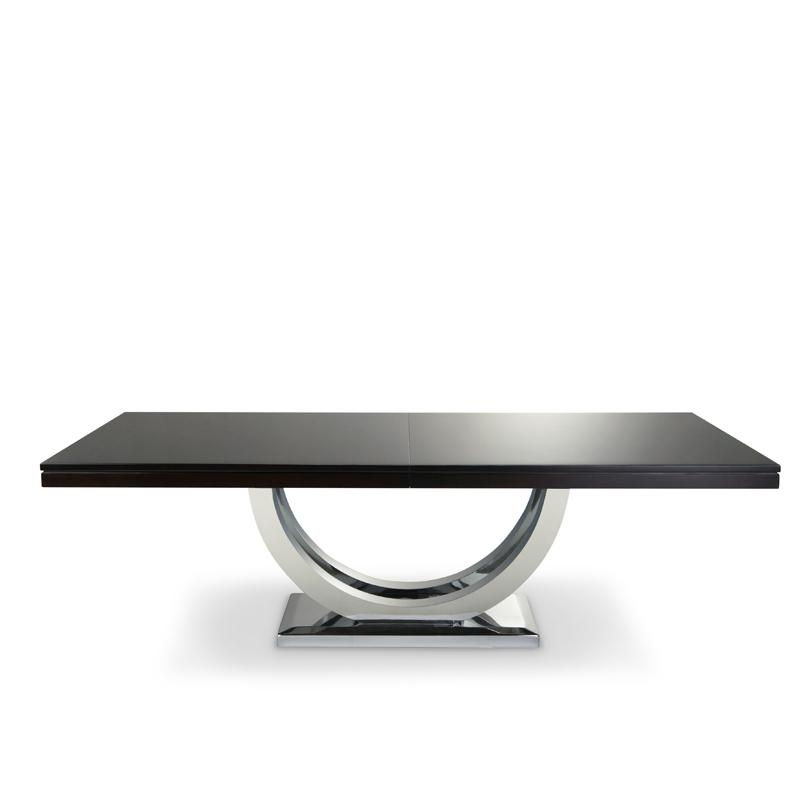 Metro Dining Table Chrome Base | Solid Wood | Woodcraft Inside Metro Dining Tables (Image 13 of 20)