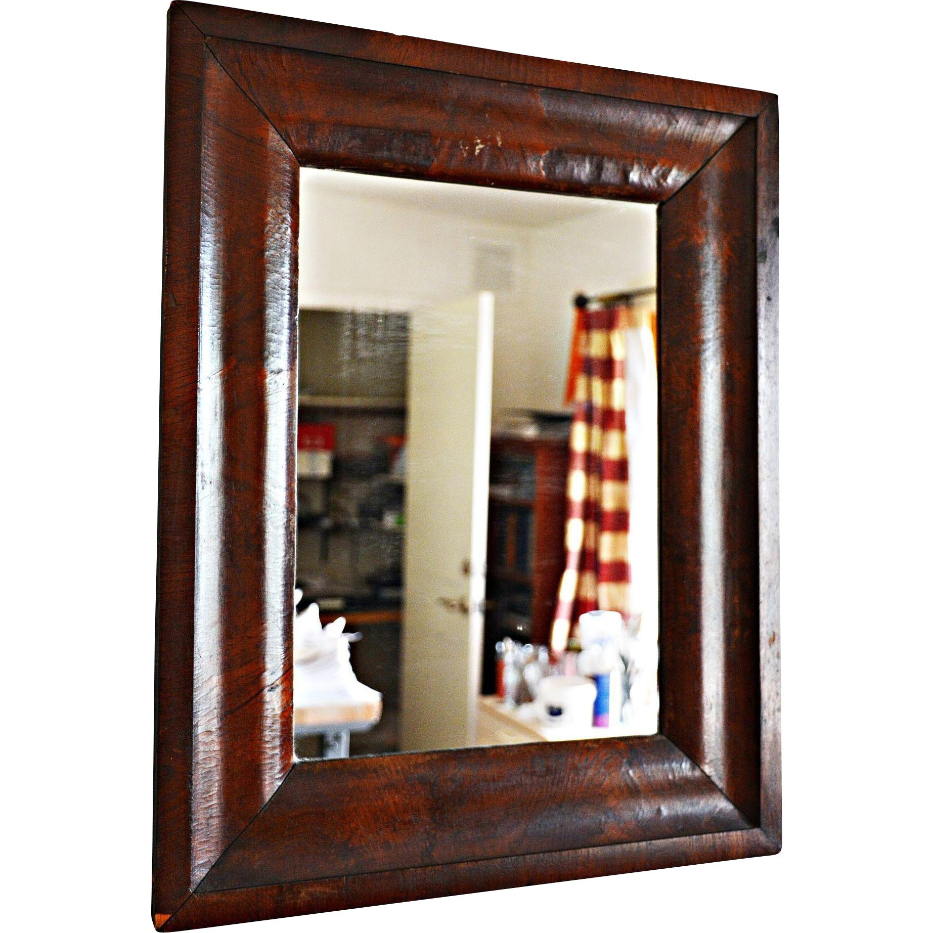 Mid 19Th Century Og Wooden Mirror With Veneers, Beveled Glass From Pertaining To Wooden Mirror (Image 4 of 20)