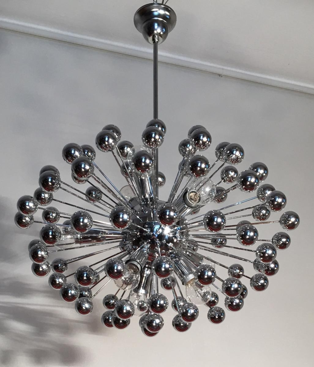 Mid Century Italian Chrome Multi Sphere Sputnik Chandelier 1960s Intended For Chrome Sputnik Chandeliers (Image 12 of 25)