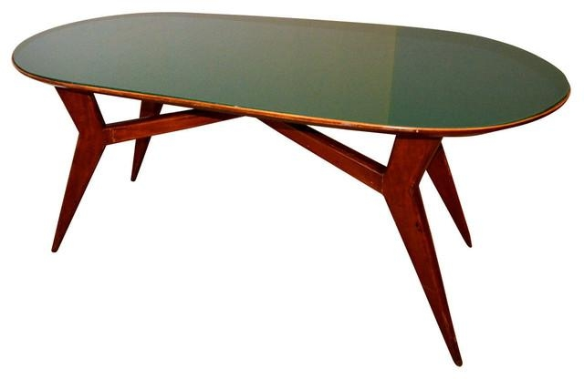 Mid Century Italian Table With Green Glass – Midcentury – Dining Regarding Green Dining Tables (Image 19 of 20)