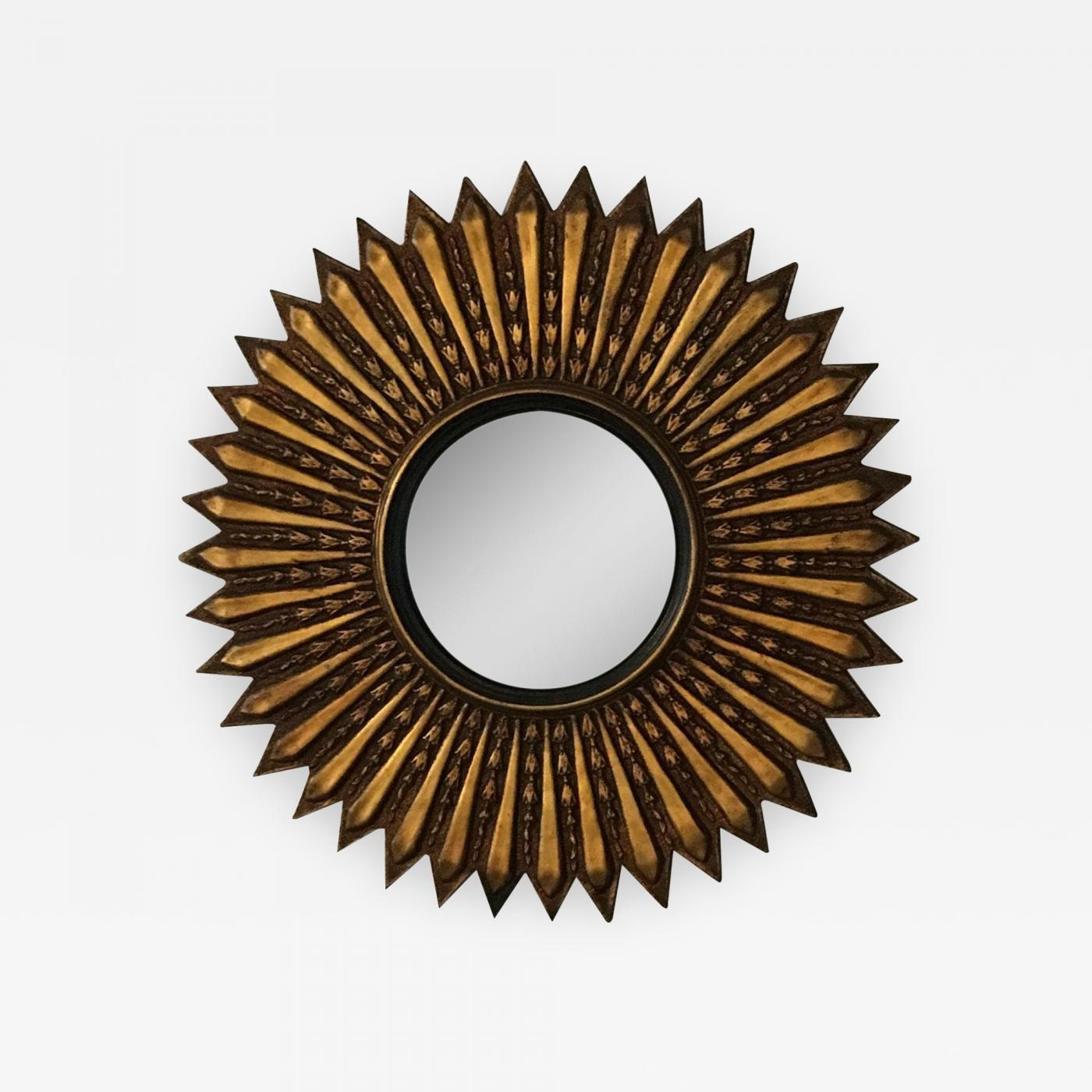 Mid Century Modern Argentinian Gilded Wood Starburst Convex Mirror Throughout Starburst Convex Mirror (Image 13 of 20)