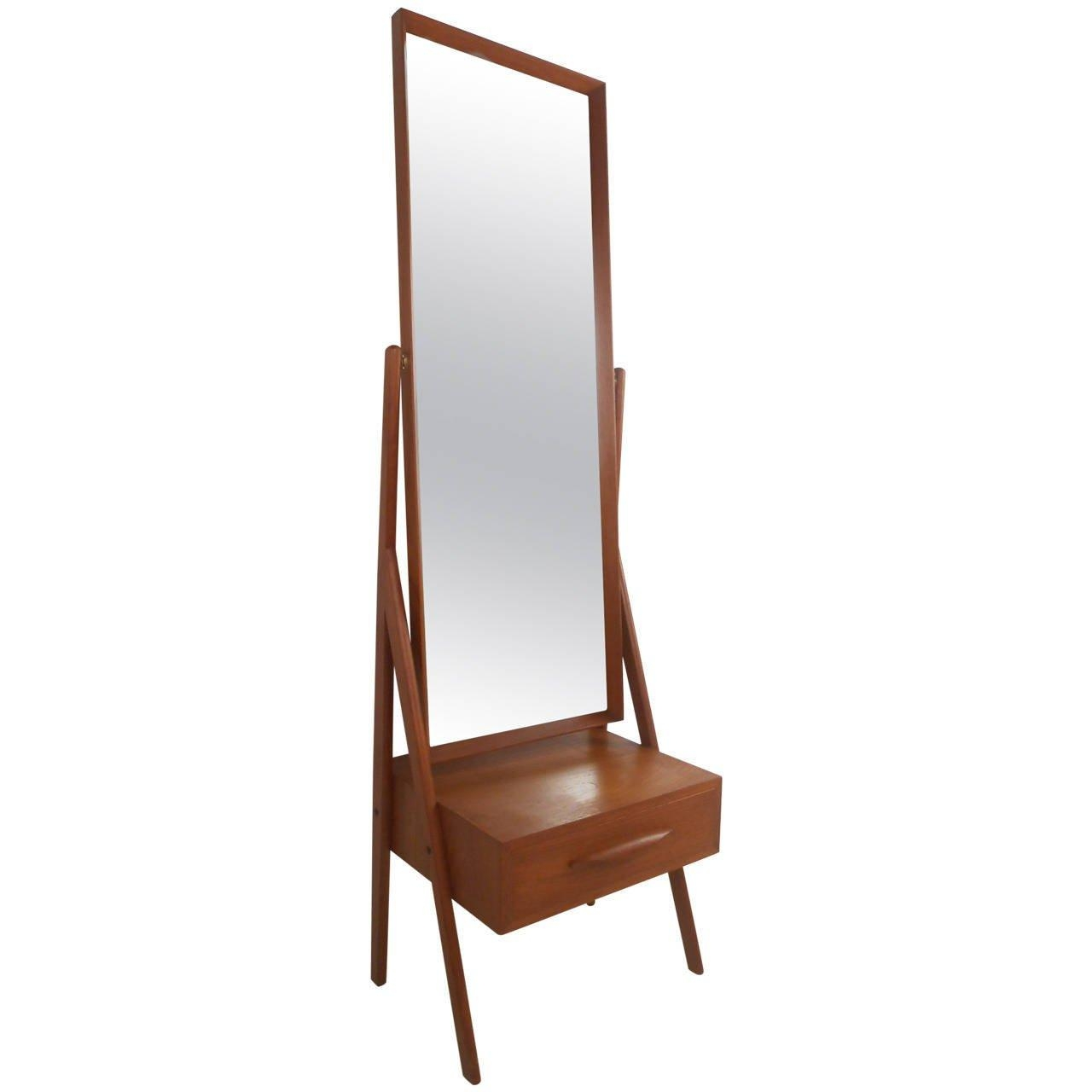 Mid Century Modern Arne Vodder Teak Cheval Dressing Mirror For Pertaining To Modern Cheval Mirror (Image 16 of 20)