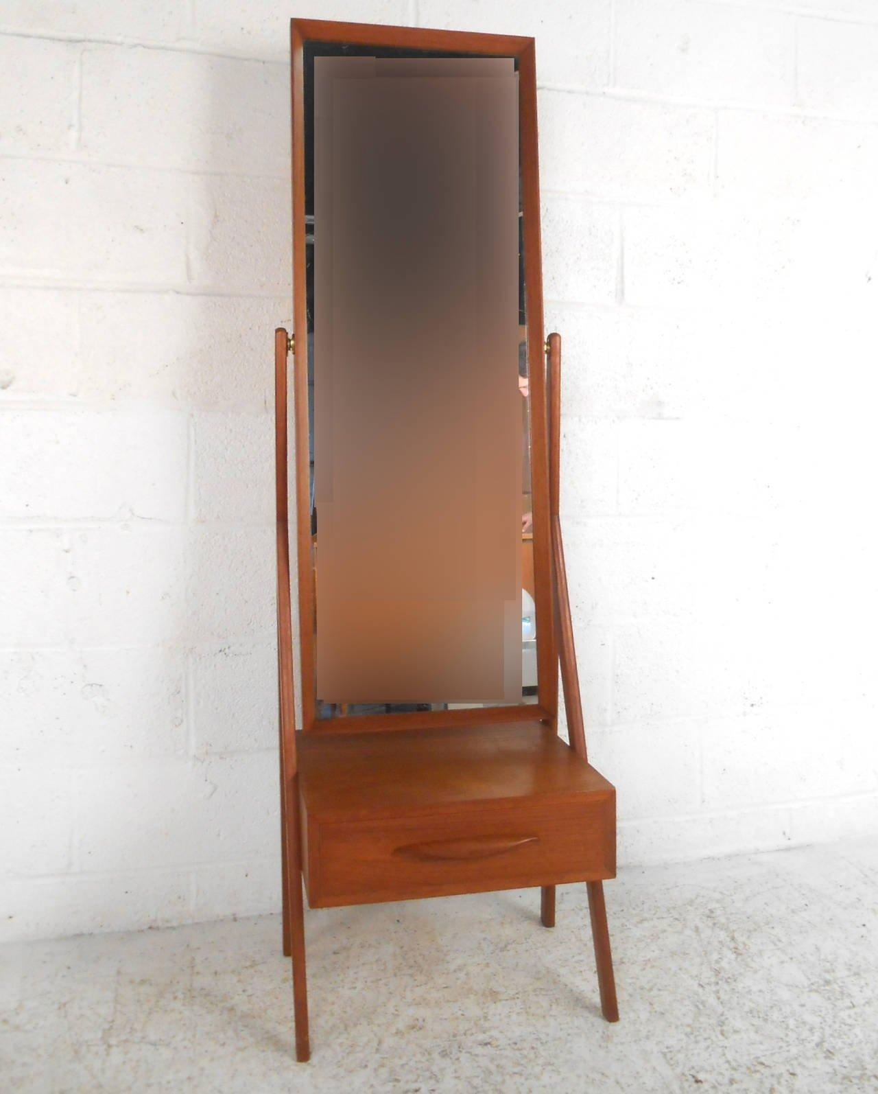 Mid Century Modern Arne Vodder Teak Cheval Dressing Mirror For Pertaining To Modern Cheval Mirror (Image 15 of 20)