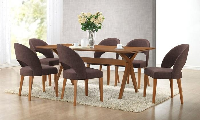 Mid Century Modern Dining Set | Groupon Goods Inside Walnut Dining Table And 6 Chairs (Image 17 of 20)