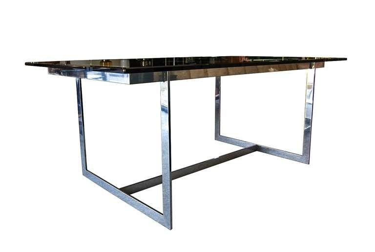 Mid Century Modern Glass And Chrome Dining Table For Sale At 1Stdibs Throughout Chrome Dining Tables (View 17 of 20)