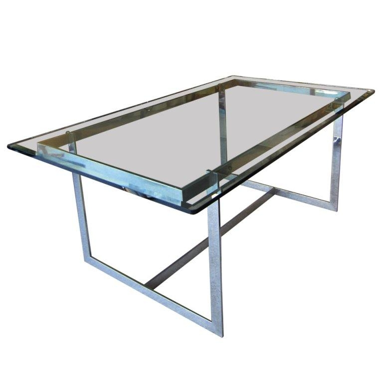 Mid Century Modern Glass And Chrome Dining Table For Sale At 1Stdibs With Chrome Dining Tables (View 15 of 20)
