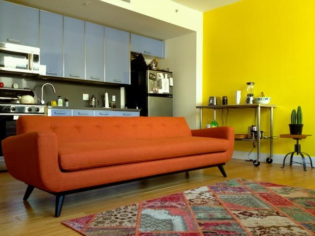 Mid Century Modern Orange Chenille Sofa – The Sofa Company In Orange Modern Sofas (View 12 of 20)