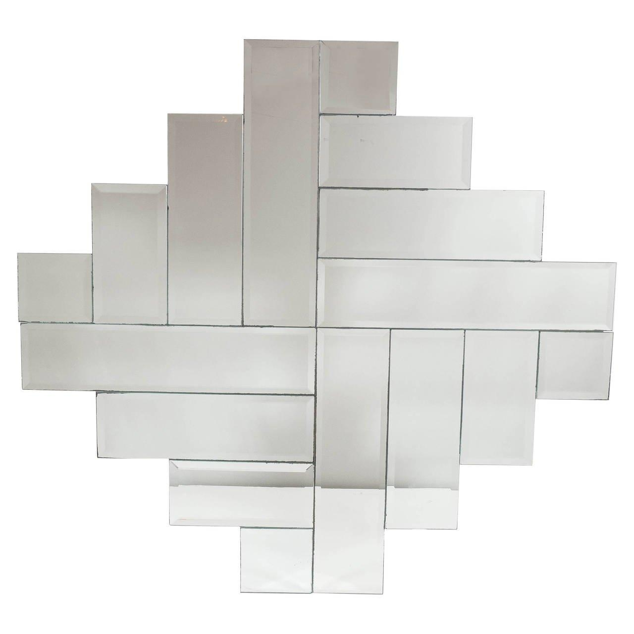 Mid Century Modernist Art Deco Style Stepped Geometric Form With Regard To Art Deco Style Mirrors (View 16 of 20)