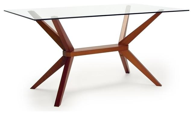 Midcentury Modern Dining Room Tables | Houzz Pertaining To Glass Dining Tables With Wooden Legs (Image 14 of 20)
