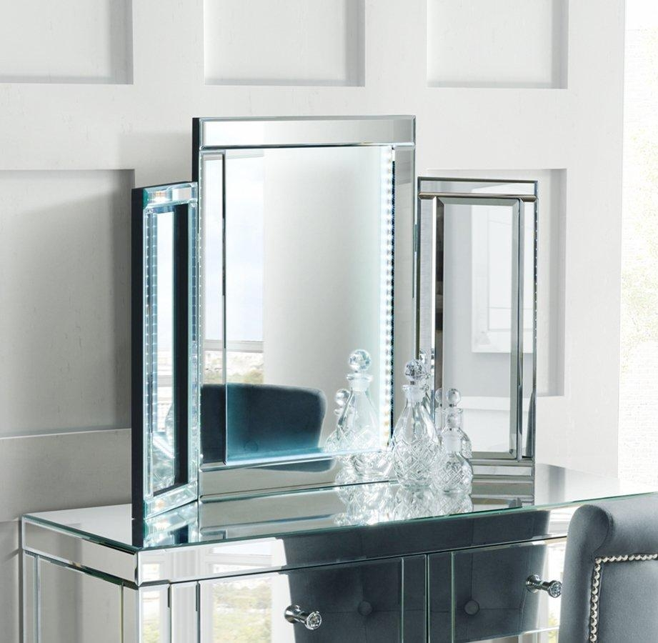 Milena Triple Led Folding Mirrored Dressing / Table Console Mirror Regarding Illuminated Dressing Table Mirror (View 9 of 20)