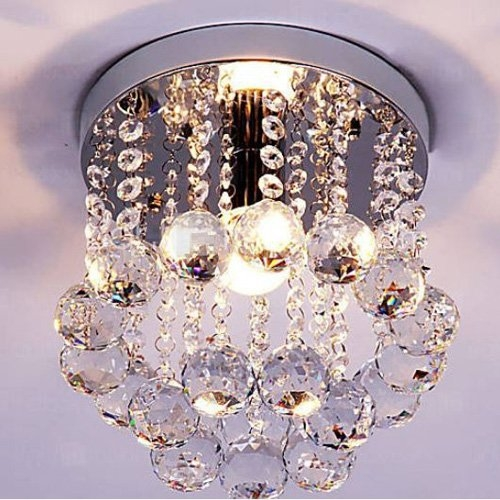 Mini Style 1 Light Flush Mount Crystal Chandelier Amazon Within Wall Mount Crystal Chandeliers (View 10 of 25)