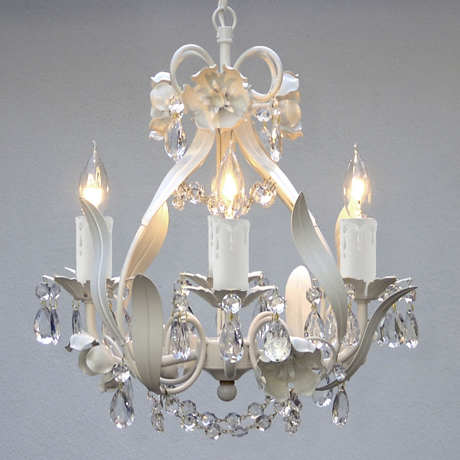 Mini White Floral Hanging Crystal Chandelier Light Fixture 4 Light With Cheap Chandeliers For Baby Girl Room (View 25 of 25)