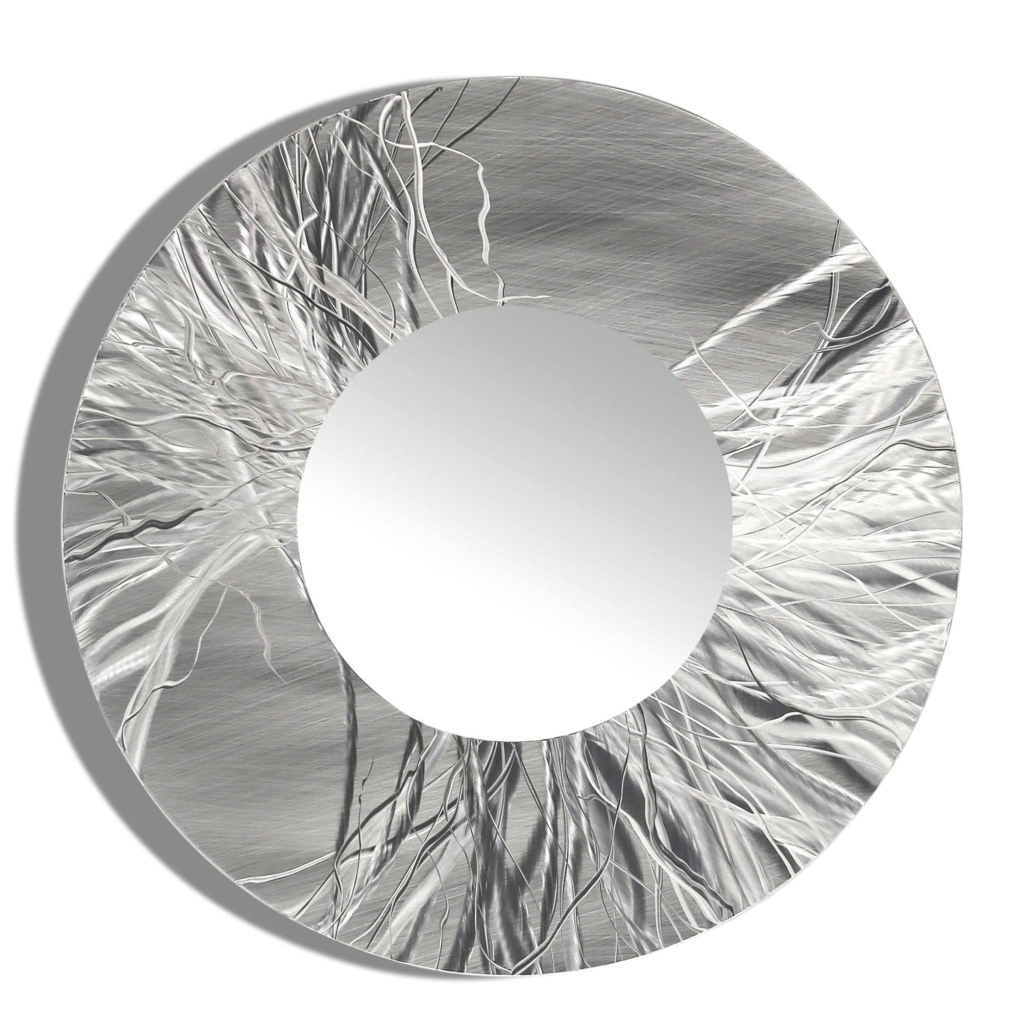 Mirror 104 – Round Silver Contemporary Metal Wall Art Round Mirror In Modern Silver Mirror (Image 12 of 20)