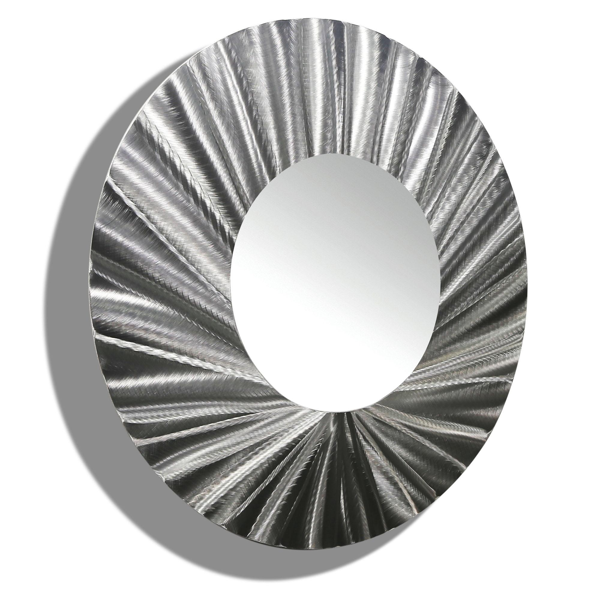 Mirror 118 – Round Silver Modern Metal Wall Art Mirror Accent Inside Modern Silver Mirror (Image 13 of 20)