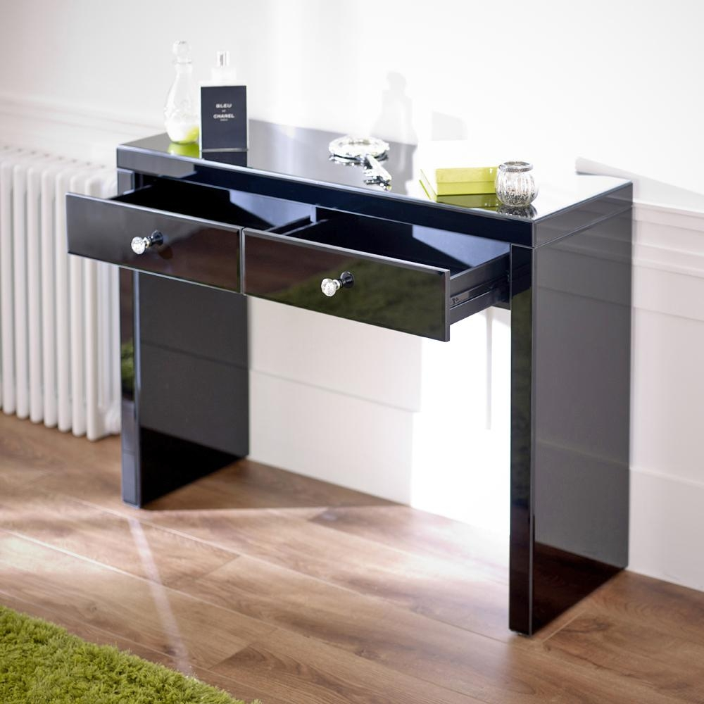 Mirrored Black Dressing Table Set With Plain Vanity Mirror Intended For Black Dressing Mirror (Image 18 of 20)