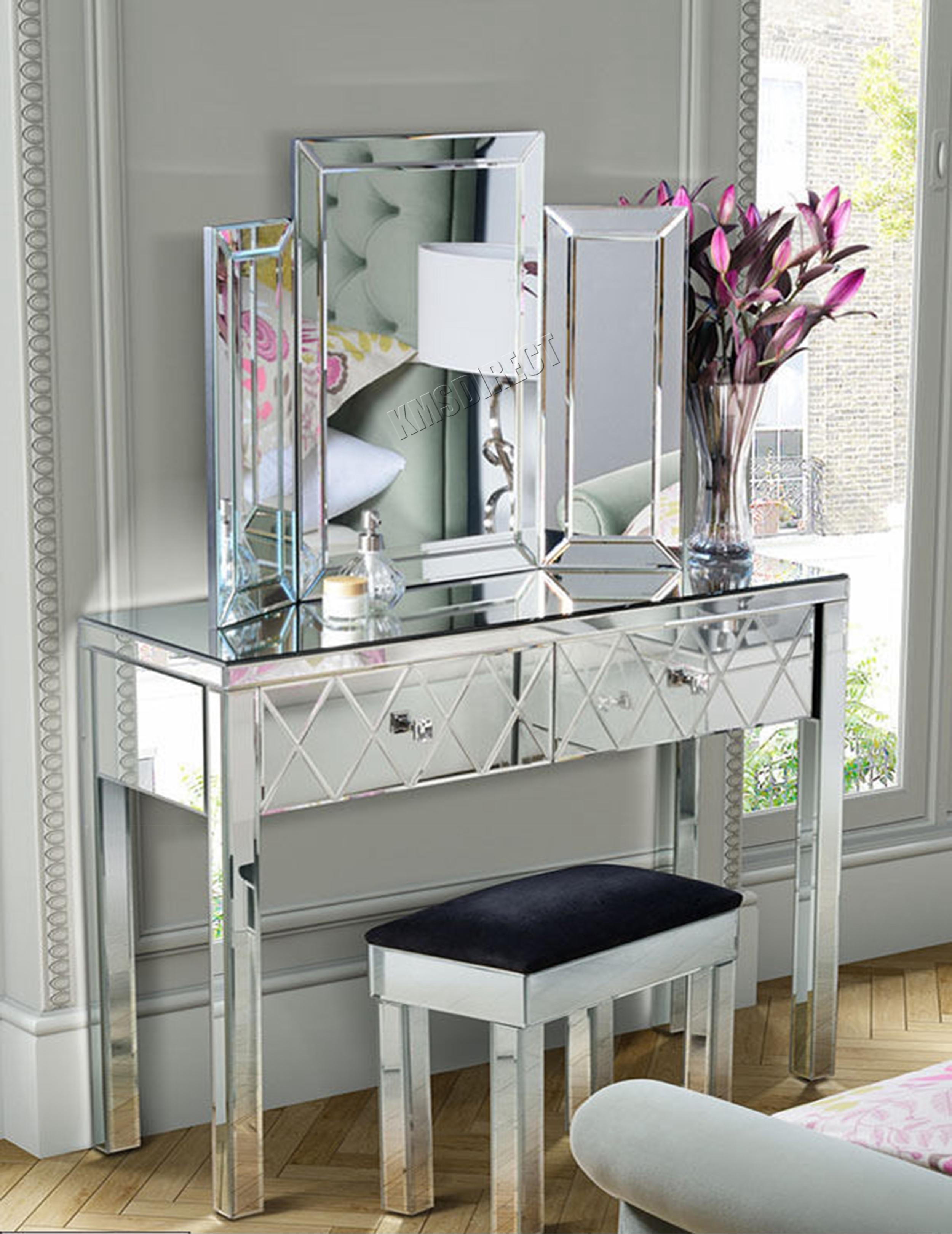 Mirrored Furniture For Less Uk | Vanity And Nightstand Decoration For Mirrored Furniture (Image 15 of 20)