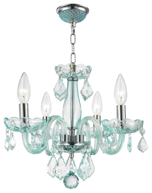 Modern 4 Light Color Crystal Small Mini Chandelier Chrome Finish Pertaining To Turquoise Color Chandeliers (View 16 of 25)