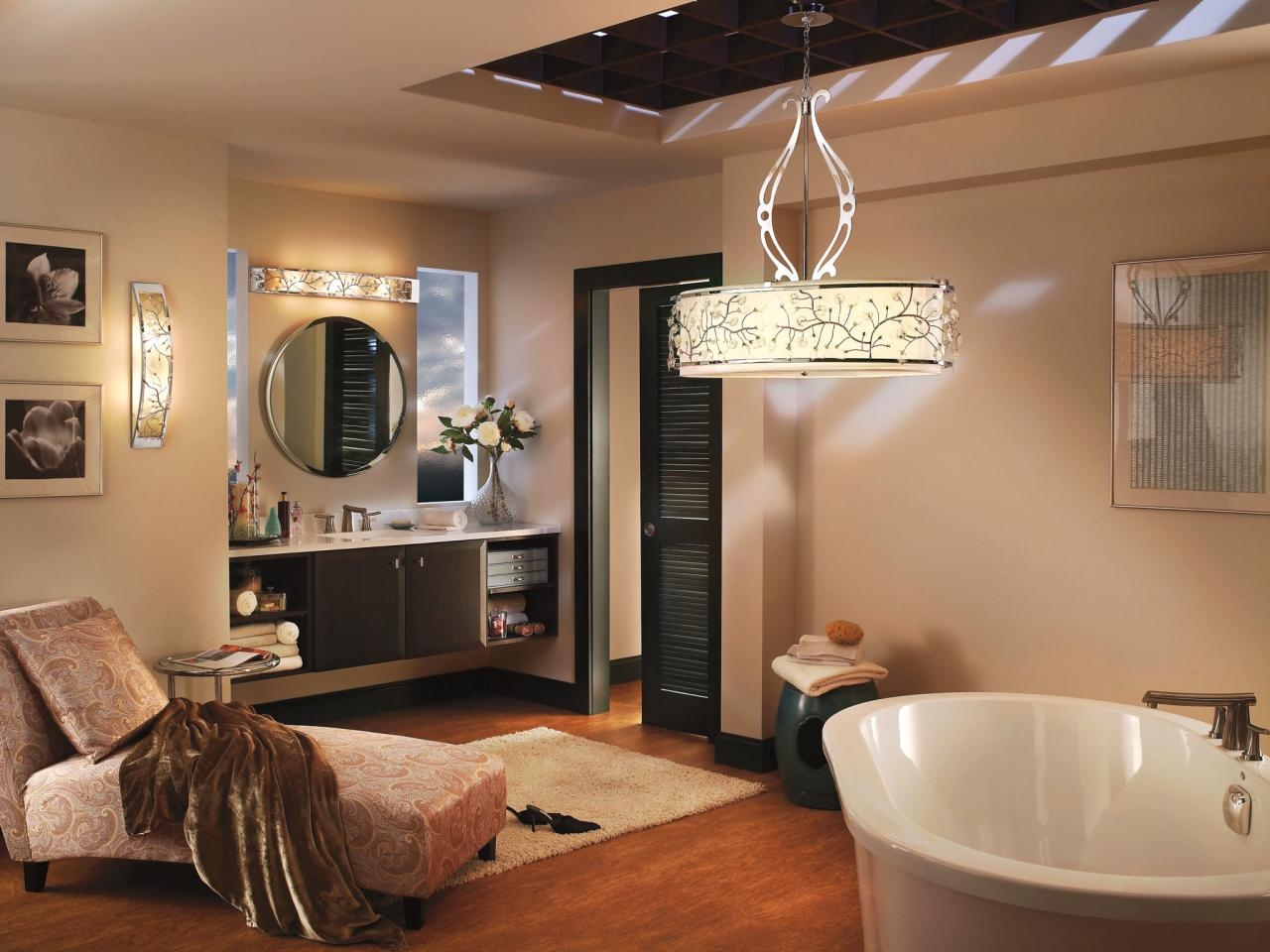Modern Bathroom Light Fixtures Modern Bathroom Lighting And Throughout Bathroom Chandelier Lighting (Image 18 of 25)