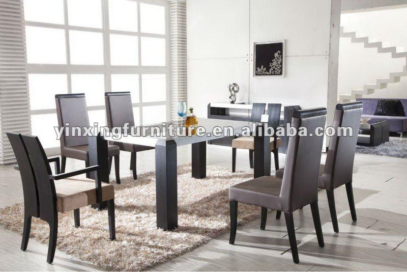 Modern Black Glass Dining Table With Wooden Legs Yg108 Shop For In Glass Dining Tables With Wooden Legs (Image 15 of 20)