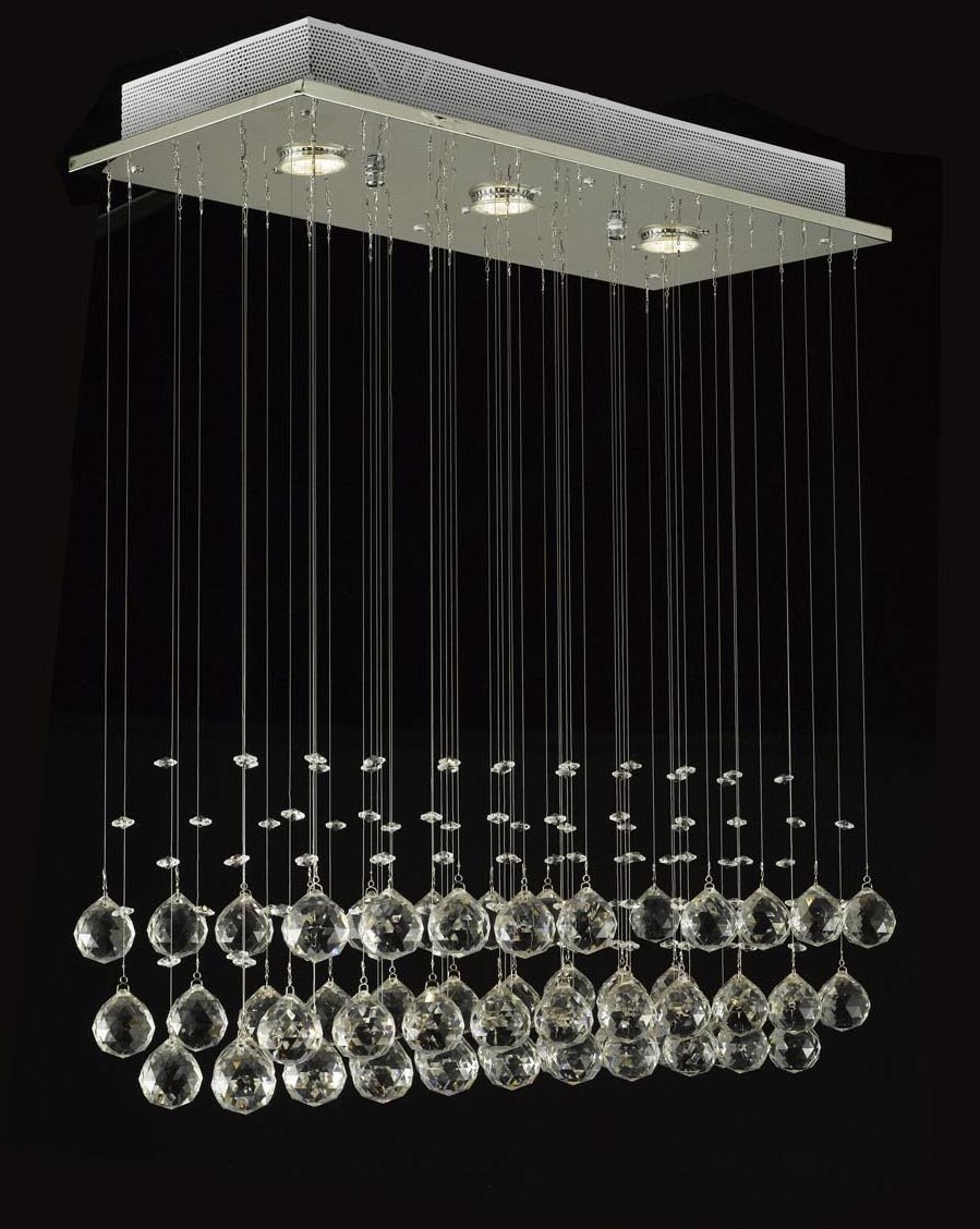 Modern Chandelier Rain Drop Lighting Crystal Ball Fixture Pendant In Crystal Ball Chandeliers (Image 17 of 25)