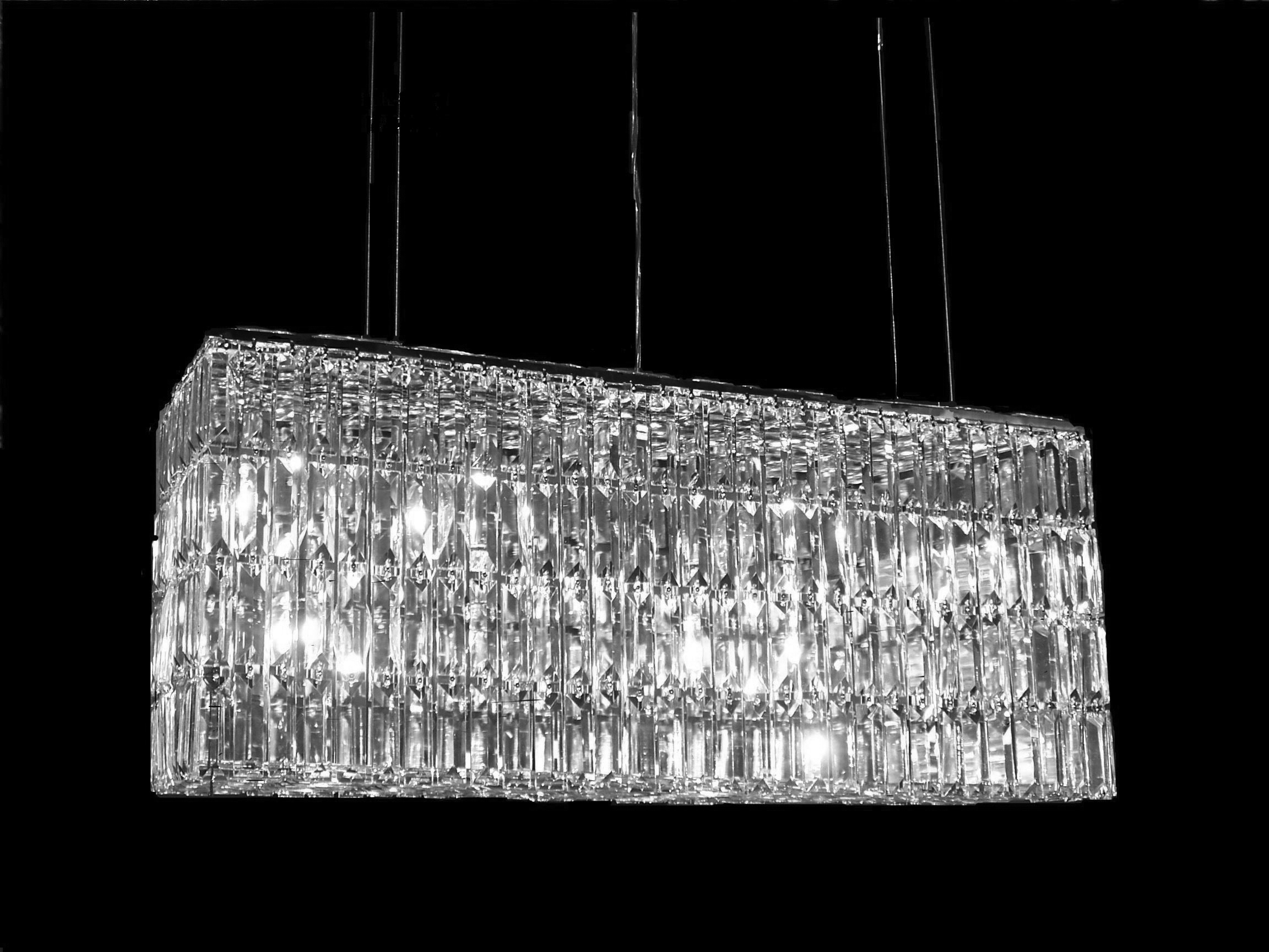 Modern Chic Rectangle Waterfall Chandelier Within Waterfall Chandeliers (Image 12 of 25)