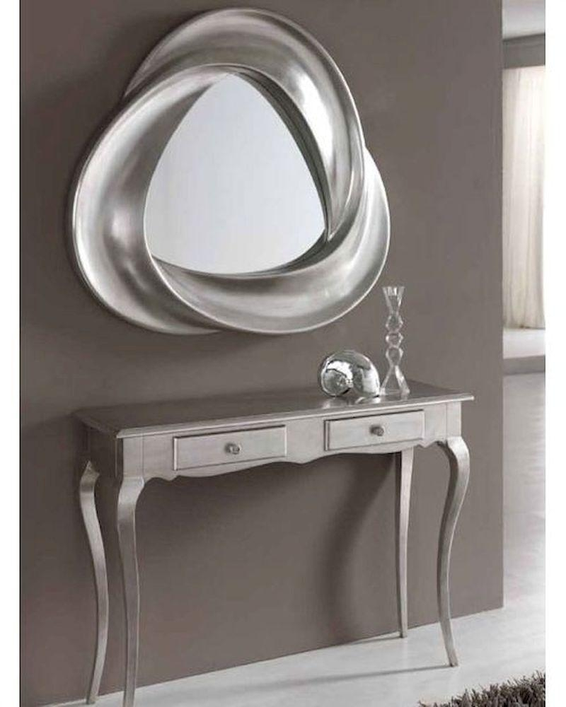 Modern Console Table And Mirror Set In Silver Finish 33C61 For Modern Silver Mirror (View 5 of 20)