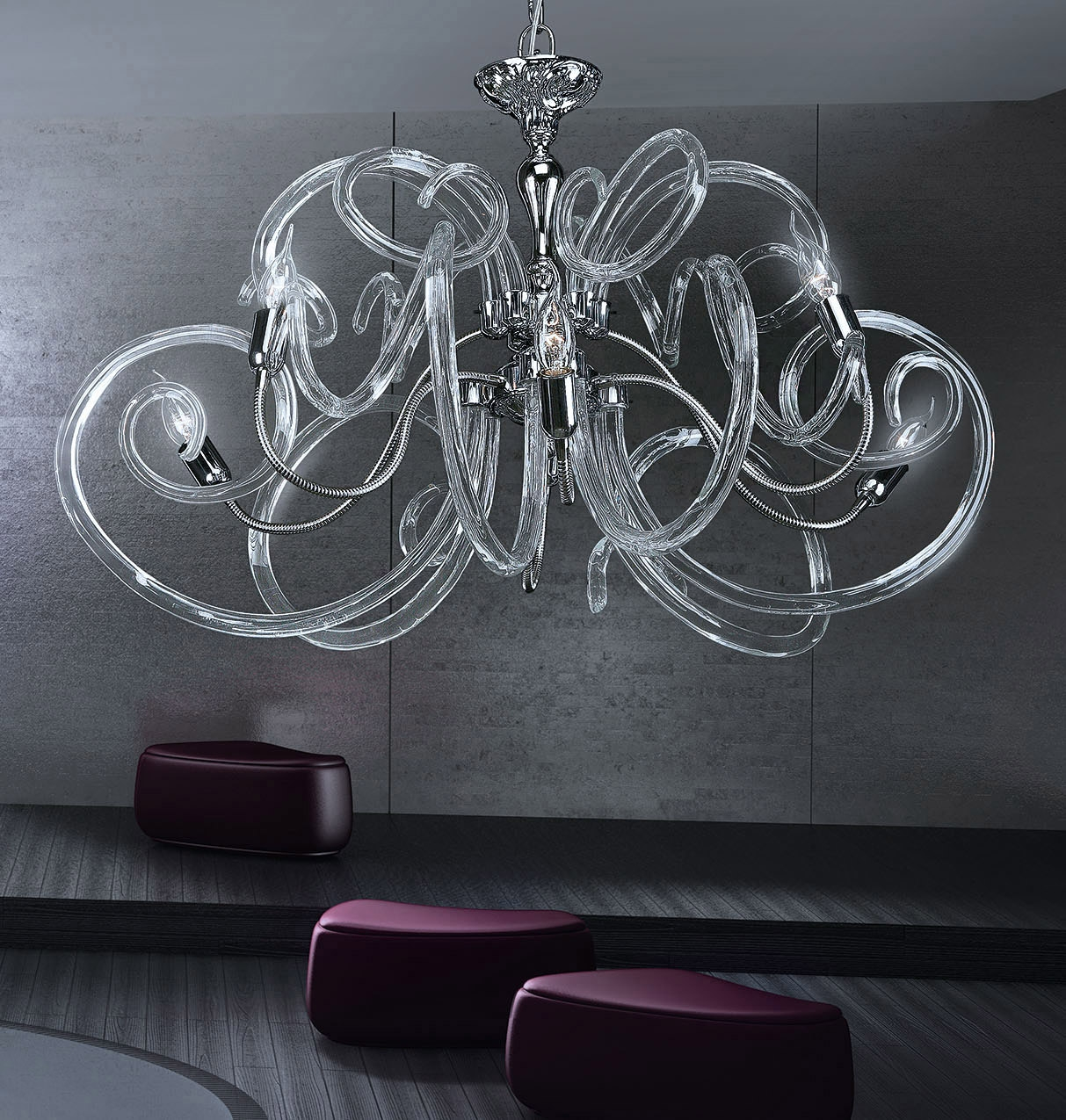 Modern Contemporary Chandelier Murano Chandelier Bal1806x6 Murano For Chrome And Glass Chandeliers (Image 20 of 25)