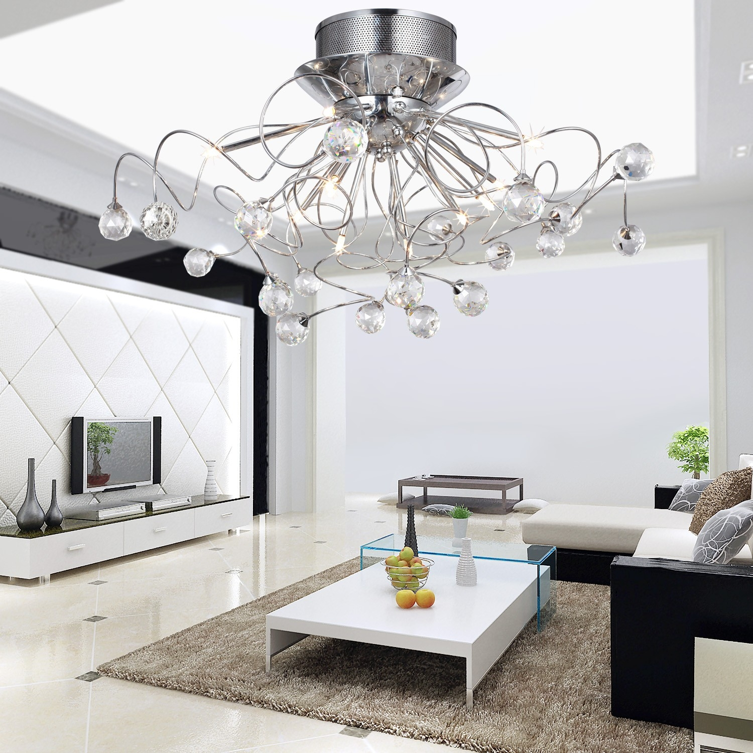 Modern Crystal Chandelier With 11 Lights Chrom Flush Mount With Regard To Hallway Chandeliers (Image 23 of 25)