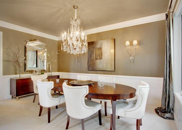Modern Crystal Dining Room Chandeliers Combined With Wooden Oval For Crystal Dining Tables (View 20 of 20)