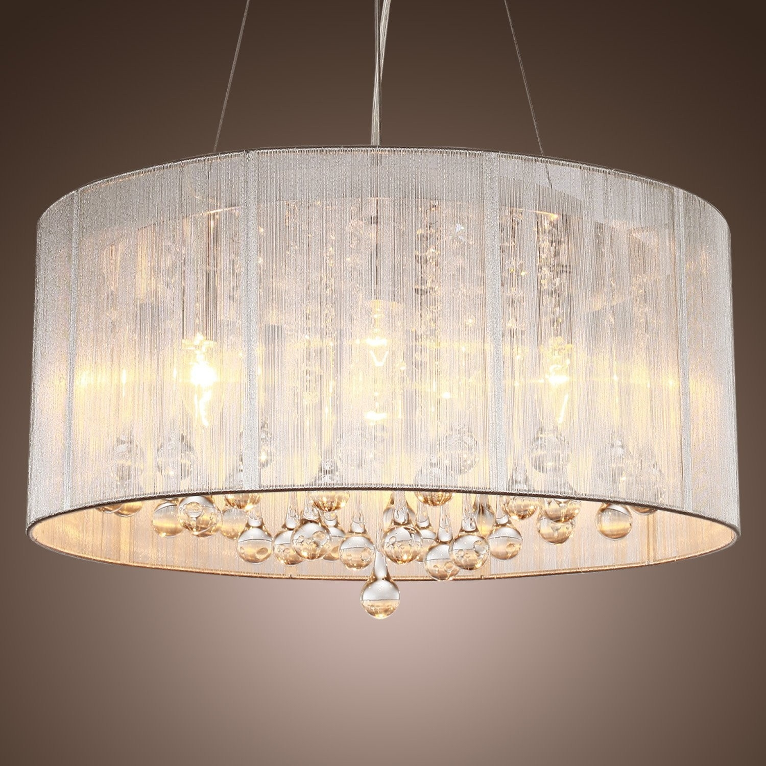 Modern Crystal Pendant Light In Cylinder Shade Drum Style Home In Flush Chandelier Ceiling Lights (Image 23 of 25)