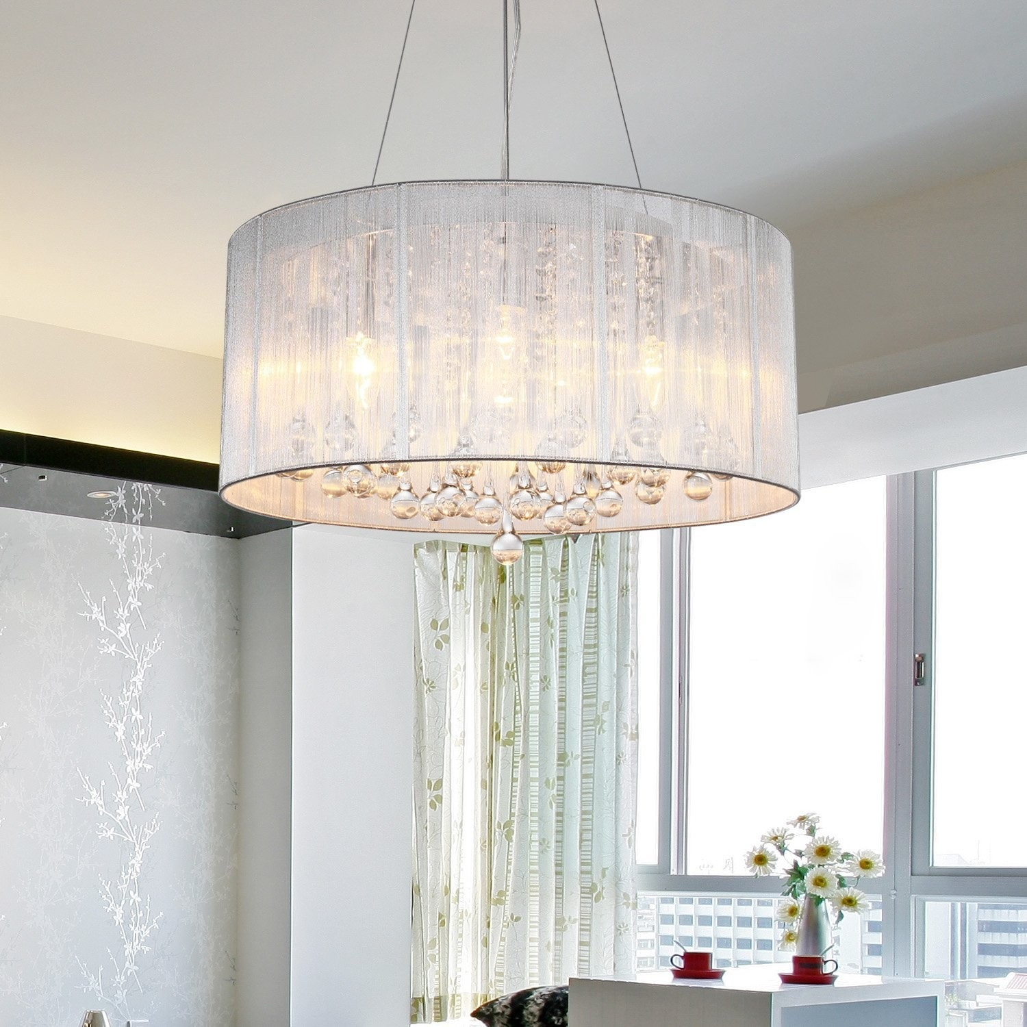 Modern Crystal Pendant Light In Cylinder Shade Drum Style Home Throughout Fabric Drum Shade Chandeliers (Image 20 of 25)