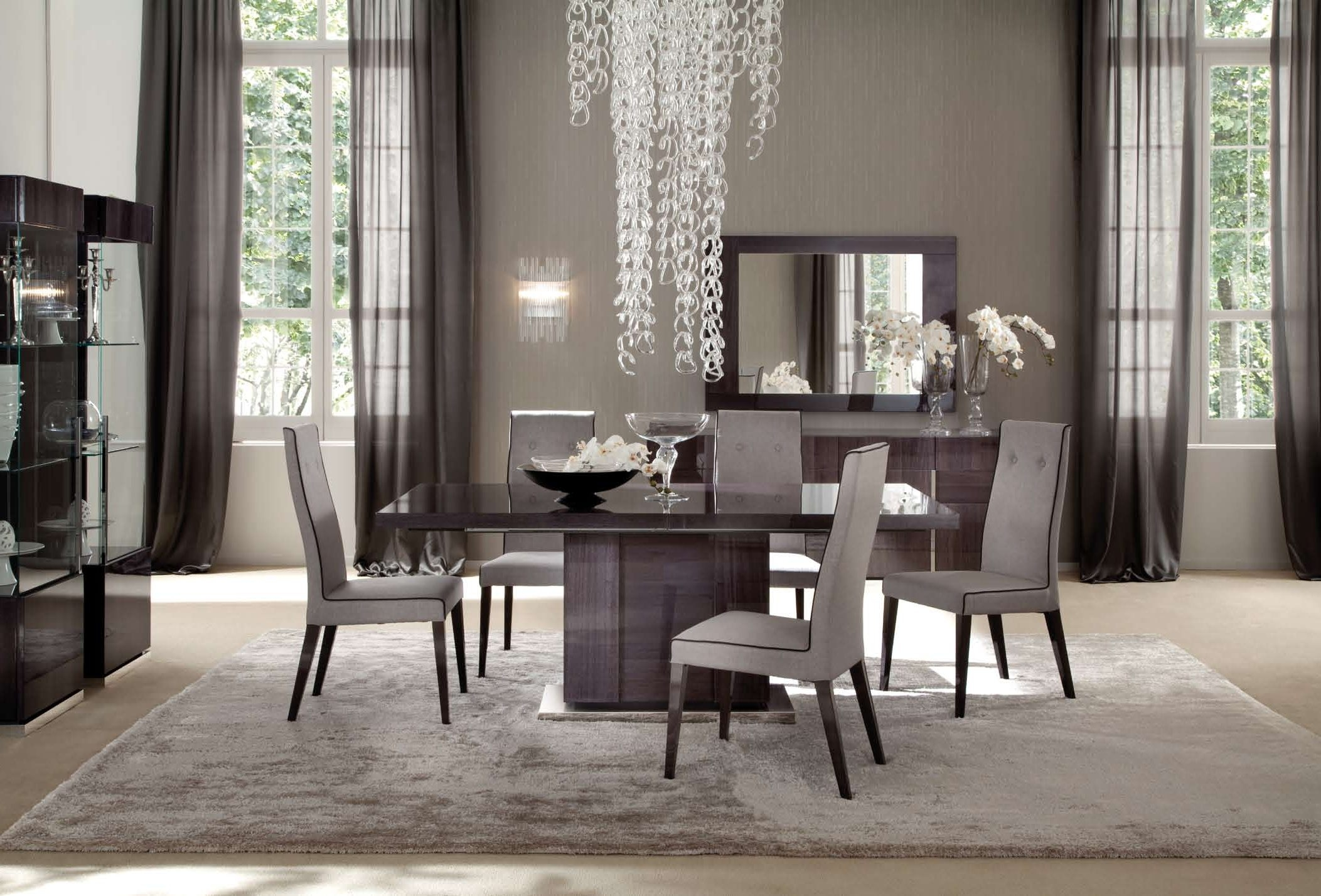 Modern Dining Room Chandeliers Grey Pattern Seat Chairs Armless Within Grey Chandeliers (Image 24 of 25)