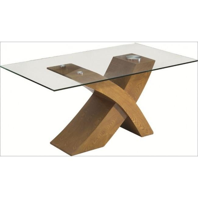 Modern Dining Table With X Shape Base & Clear Glass Top Chic Furniture Inside Oak Glass Top Dining Tables (Image 14 of 20)