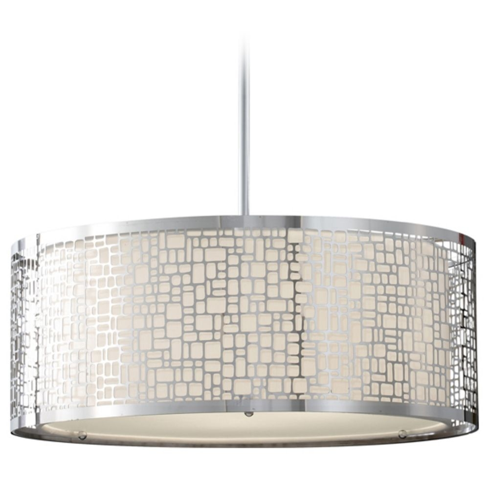 Modern Drum Pendant Light With White Glass In Chrome Finish With Regard To Metal Drum Chandeliers (Image 21 of 25)