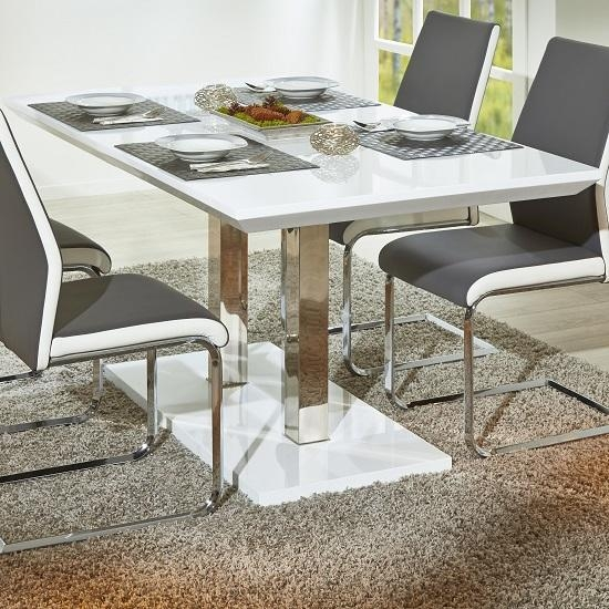 Modern Extendable Dining Table In White High Gloss For Edmonton Dining Tables (Image 18 of 20)