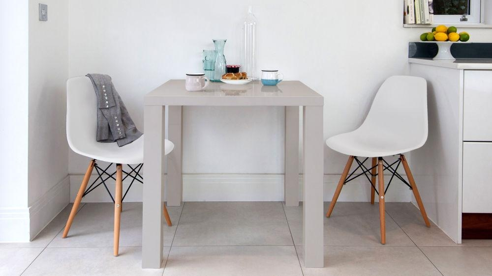 Modern Grey High Gloss Table | Kitchen Table | Uk Throughout Two Seater Dining Tables And Chairs (Image 13 of 20)