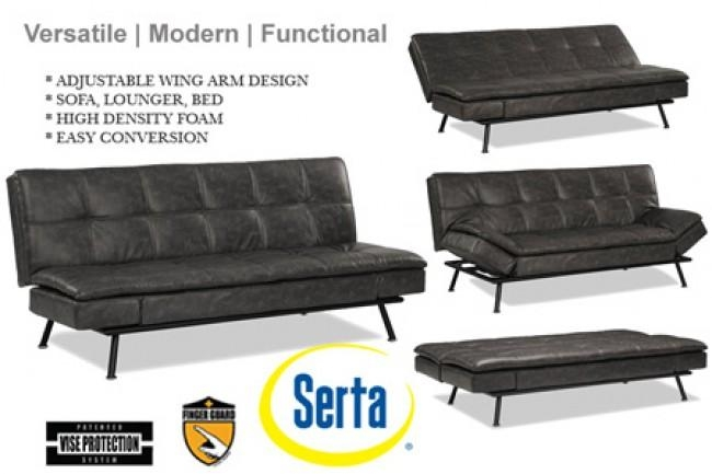 Modern Grey Leather Futon Lounger | Myst Serta Euro Lounger | The With Euro Lounger Sofa Beds (Image 12 of 20)