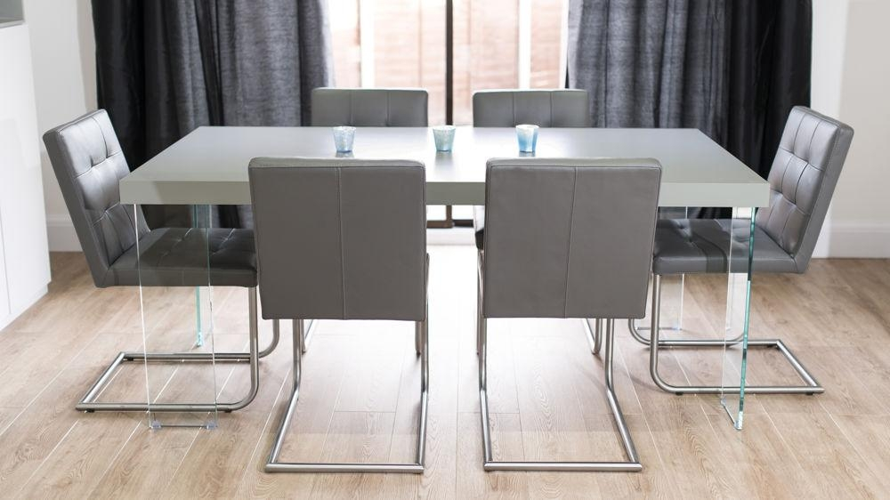 Modern Grey Oak Dining Table | Glass Legs | Seats 6 To 8 With Regard To Glass Dining Tables With Oak Legs (Image 10 of 20)