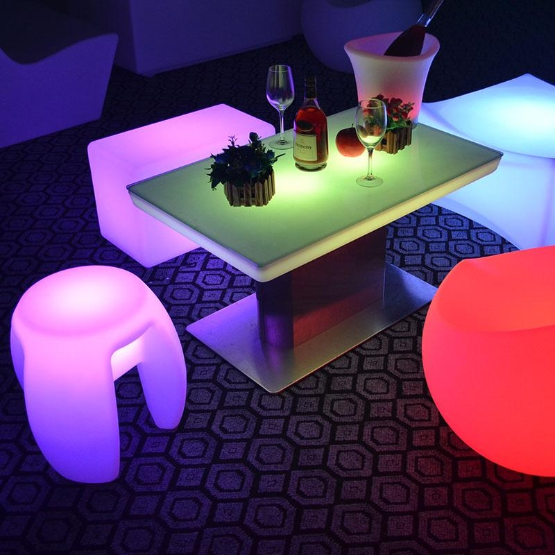 Modern Illuminated Led Glowing Table/glowing Led Cocktail Table With Regard To Dining Tables With Led Lights (Image 14 of 20)