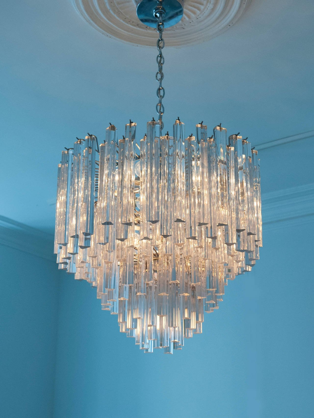 Modern Italian Crystal Venini Chandelier Camer At 1stdibs With Turquoise Chandelier Crystals (Image 17 of 25)