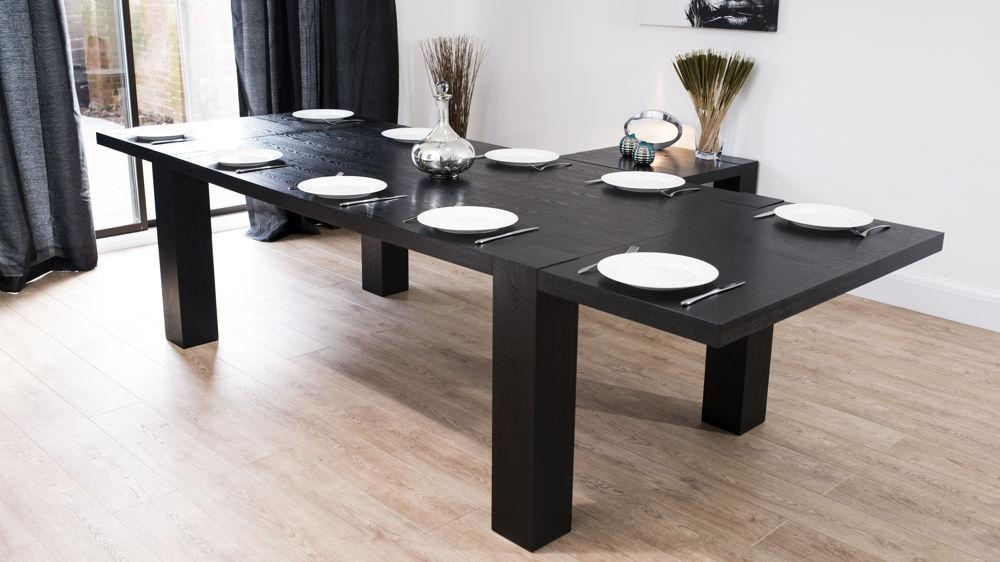 Modern Large Extending Black Ash Dining Table | Chunky Legs | Seats 14 With Dining Tables With Large Legs (Image 17 of 20)