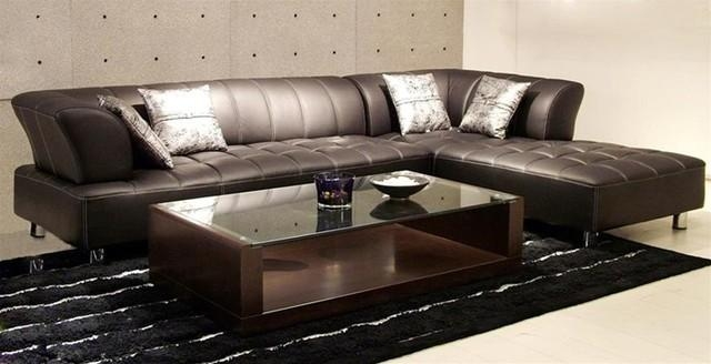 Modern Leather Sectional Sofa Brown Couch Living Room With Dark D With Contemporary Brown Leather Sofas (Image 16 of 20)