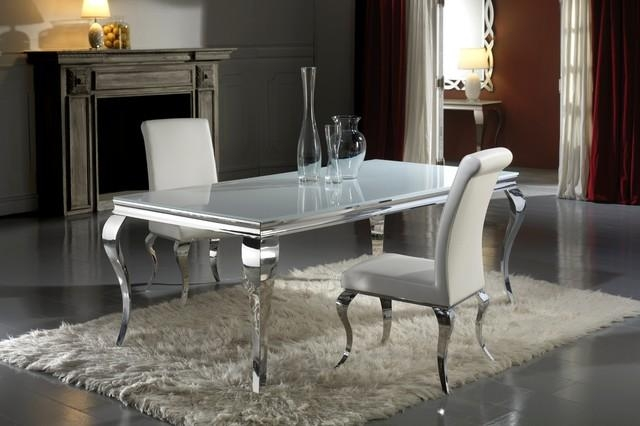 Modern Louis Inspired White Glass Dining Table And Chair Set With Regard To Dining Tables London (Image 16 of 20)