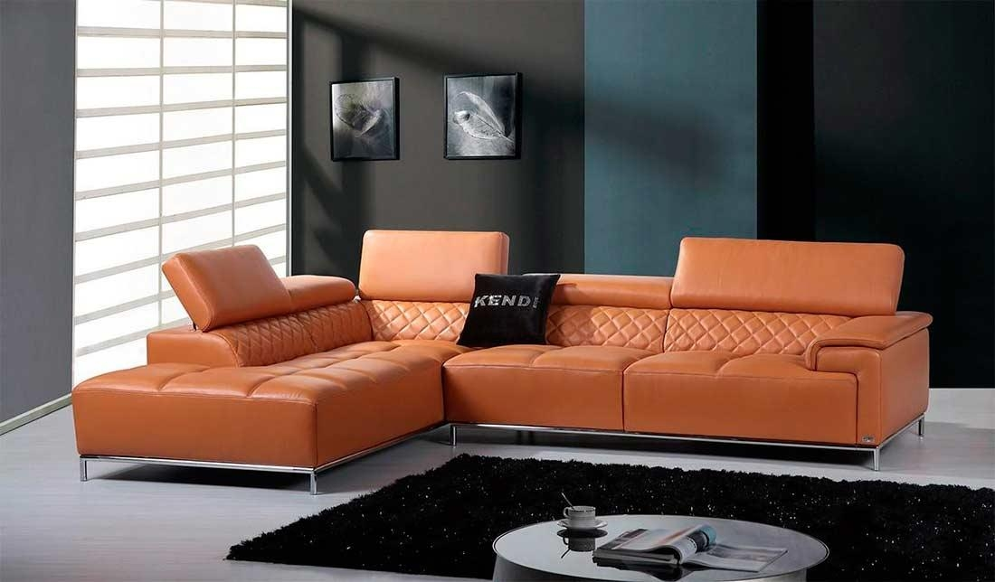 Modern Orange Leather Sectional Sofa With Bluetooth System Vg482 Inside Orange Sectional Sofas (View 20 of 20)