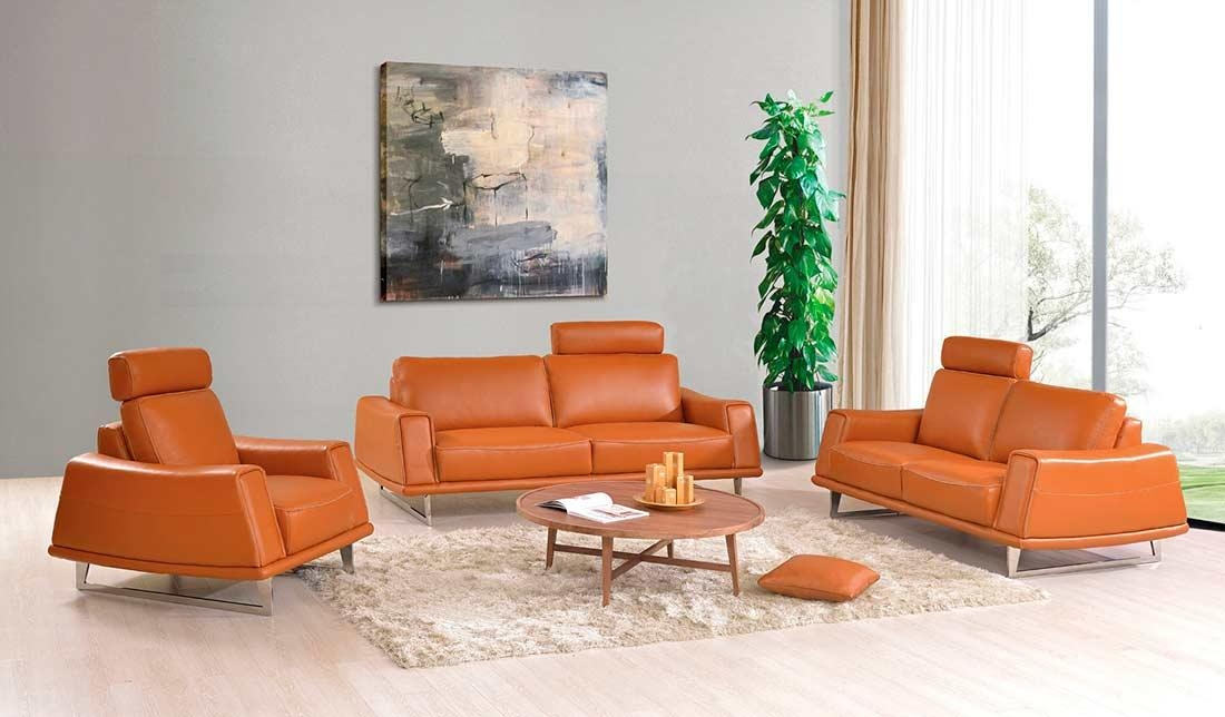 Modern Orange Leather Sofa Ef531 | Leather Sofas Regarding Orange Modern Sofas (Image 12 of 20)